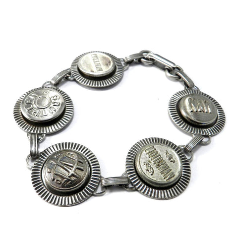 Vintage Uniform Button Bracelet - Silver on Silver