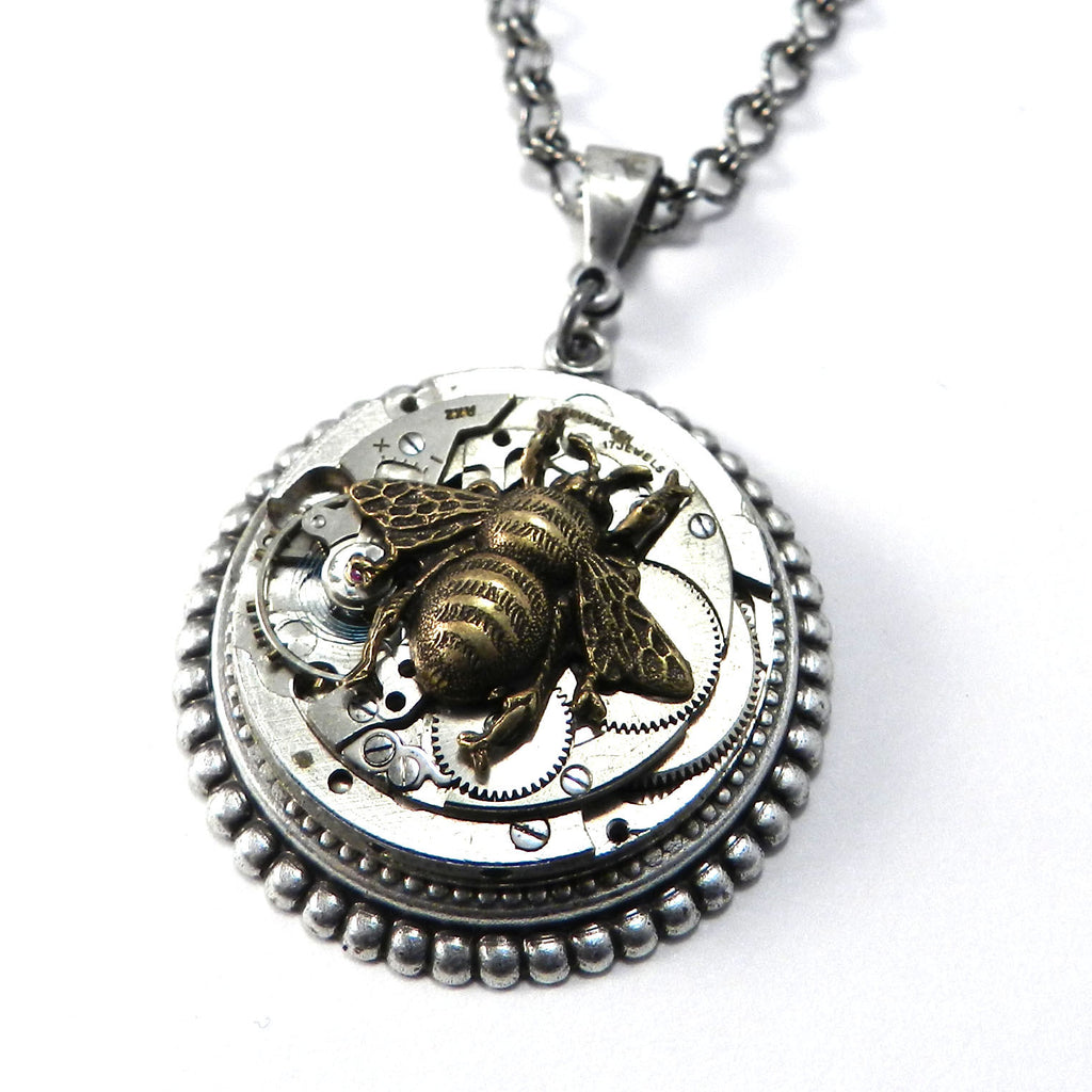 Steampunk Necklace - Victorian Honey Bee on Silver Art Deco Watch