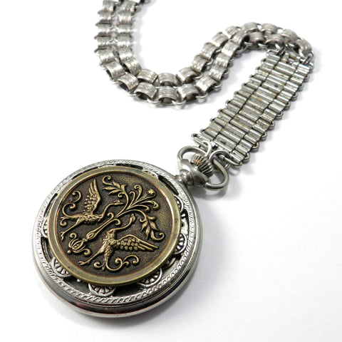 Statement Necklace - Edwardian Pocket Watch w/ Victorian Button Medallion