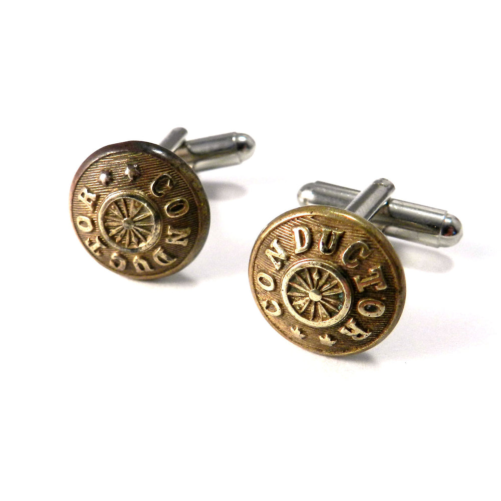 Conductor Uniform Vintage Railroad Button Cufflinks - Brass