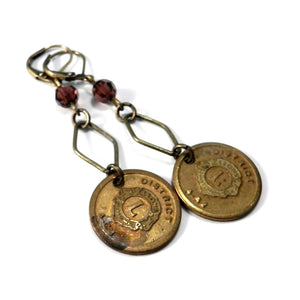 Vintage Medal Earrings - Lions Club - Burgundy Crystal