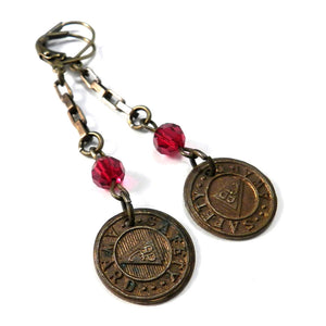 Vintage Medal Earrings - Safety Award - Red Crystal