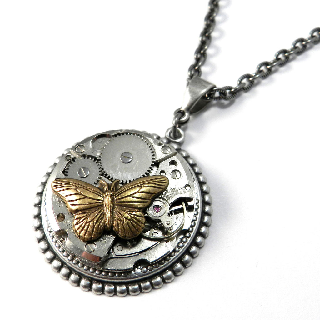 Steampunk Necklace - Victorian Butterfly on Silver Art Deco Watch