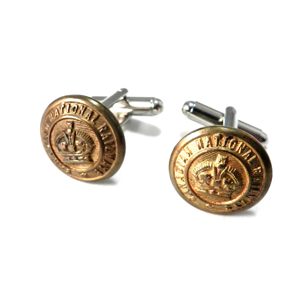 Canadian National Railways Vintage Uniform Button Cufflinks