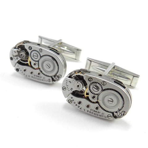 Watch Movement Cufflink - Oval Elgin - Statement Size - Solid Sterling Cufflinks