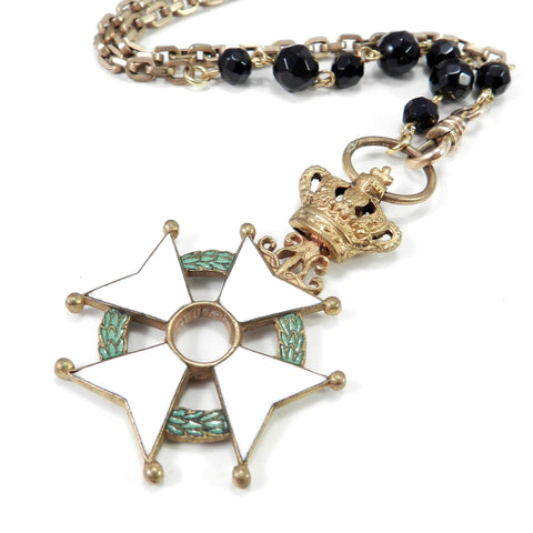 Belgian Order of the Crown Maltese Cross Medal Necklace w. Onyx