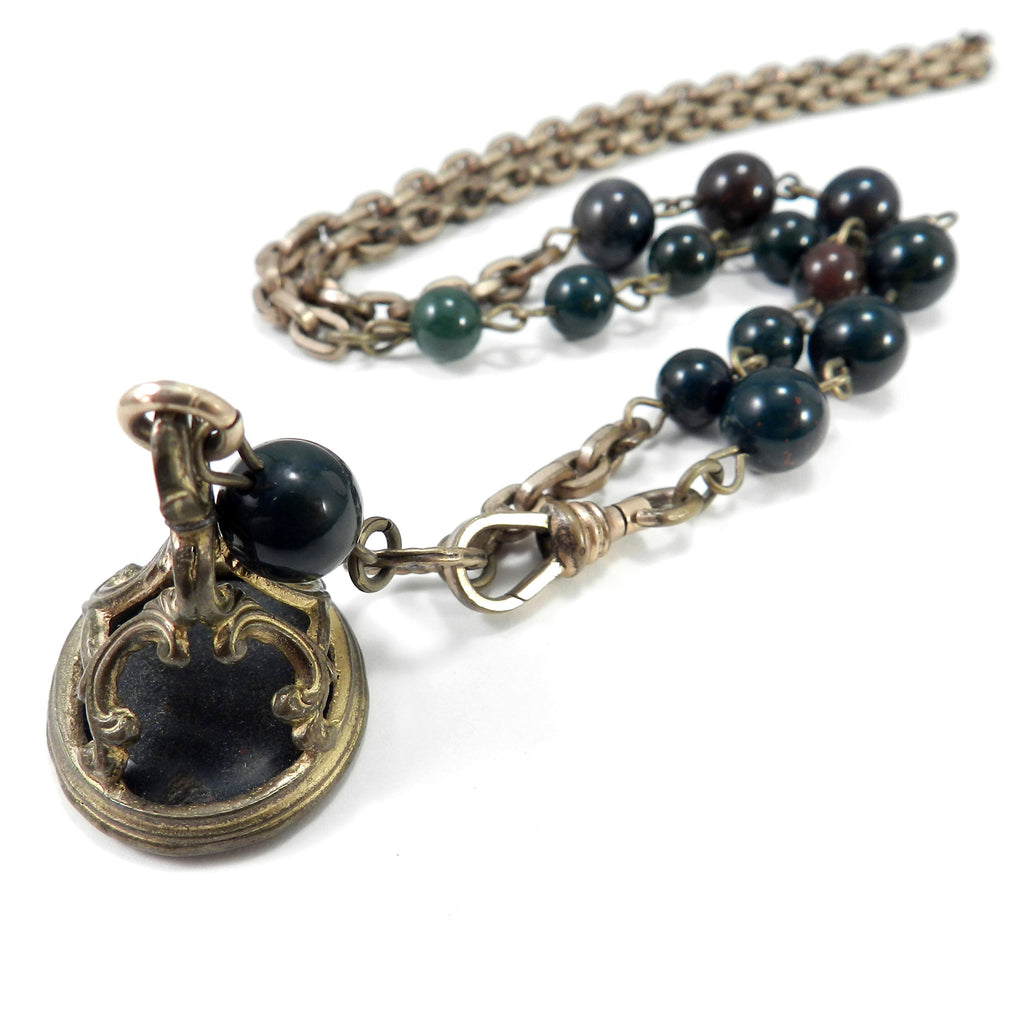 Greek Revival Bloodstone Signet Necklace - ANTIQUITY collection