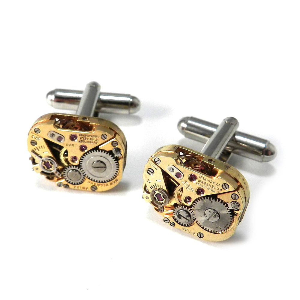 Vintage Watch Cufflinks - Gold N & W Ullman