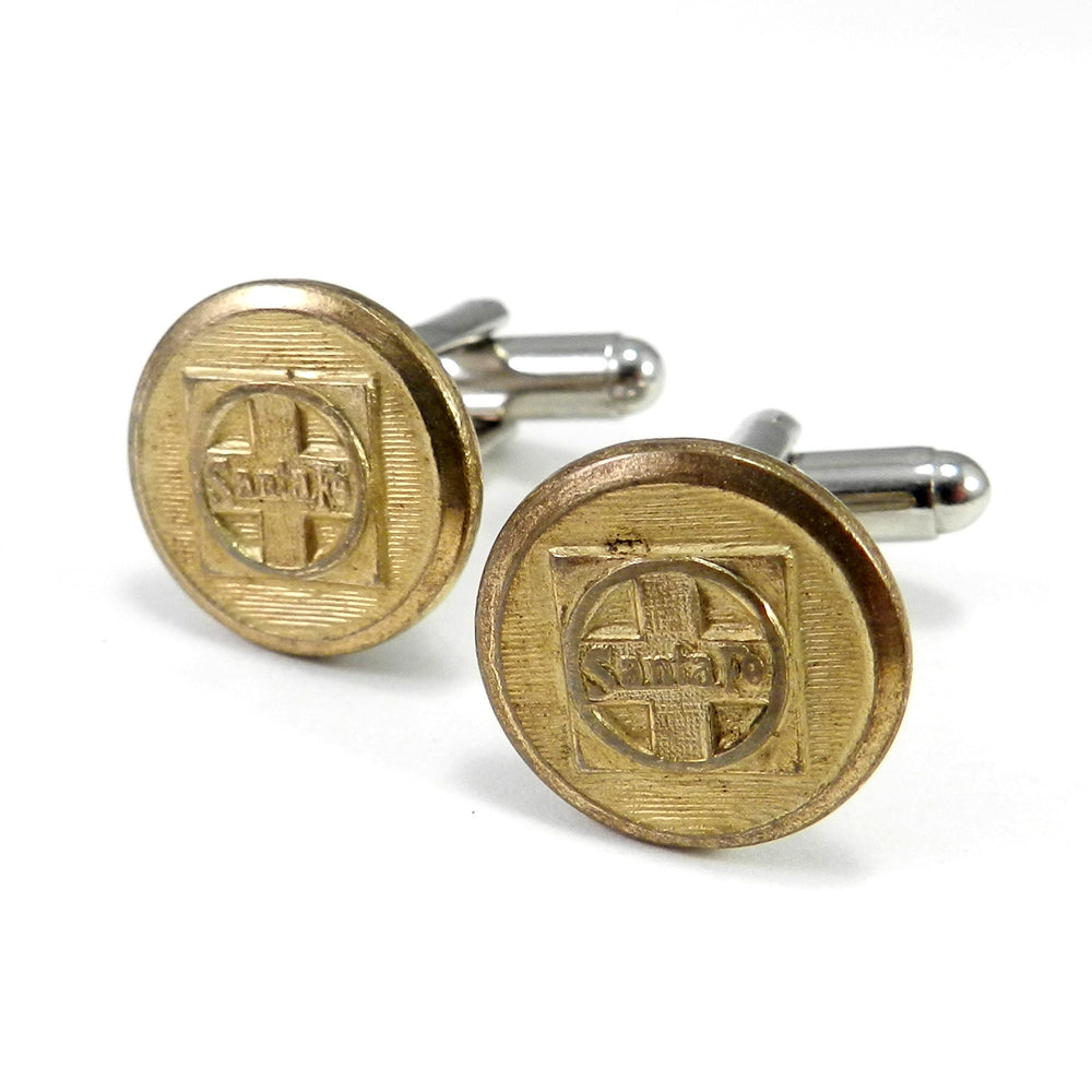 Santa Fe Railroad Uniform Button Cufflinks - Brass