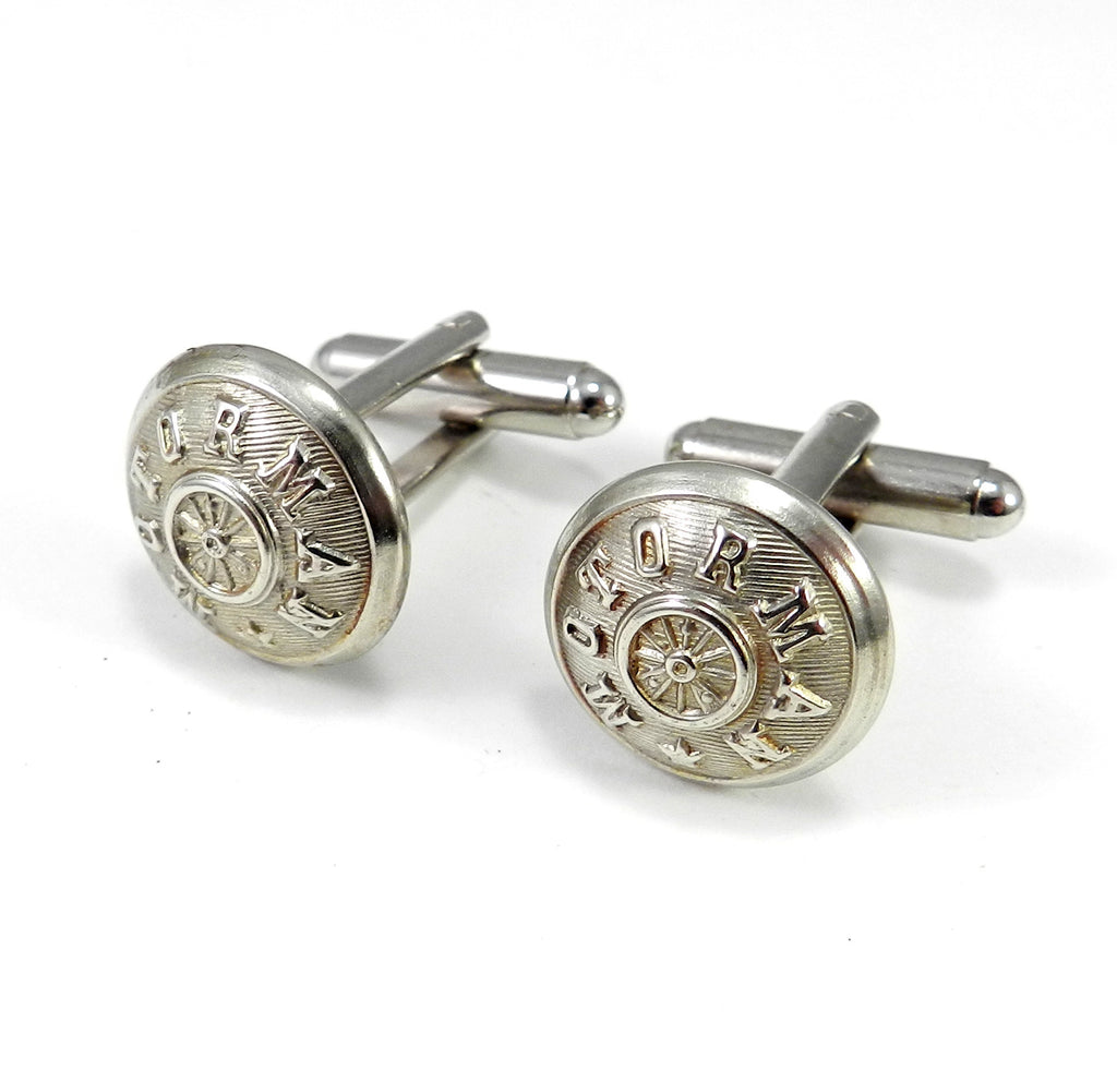 Motorman Trolley Uniform Button Cufflinks - Steel