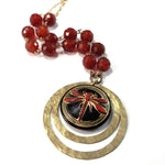 Dragonfly Vintage Button Echo Necklace - Carnelian