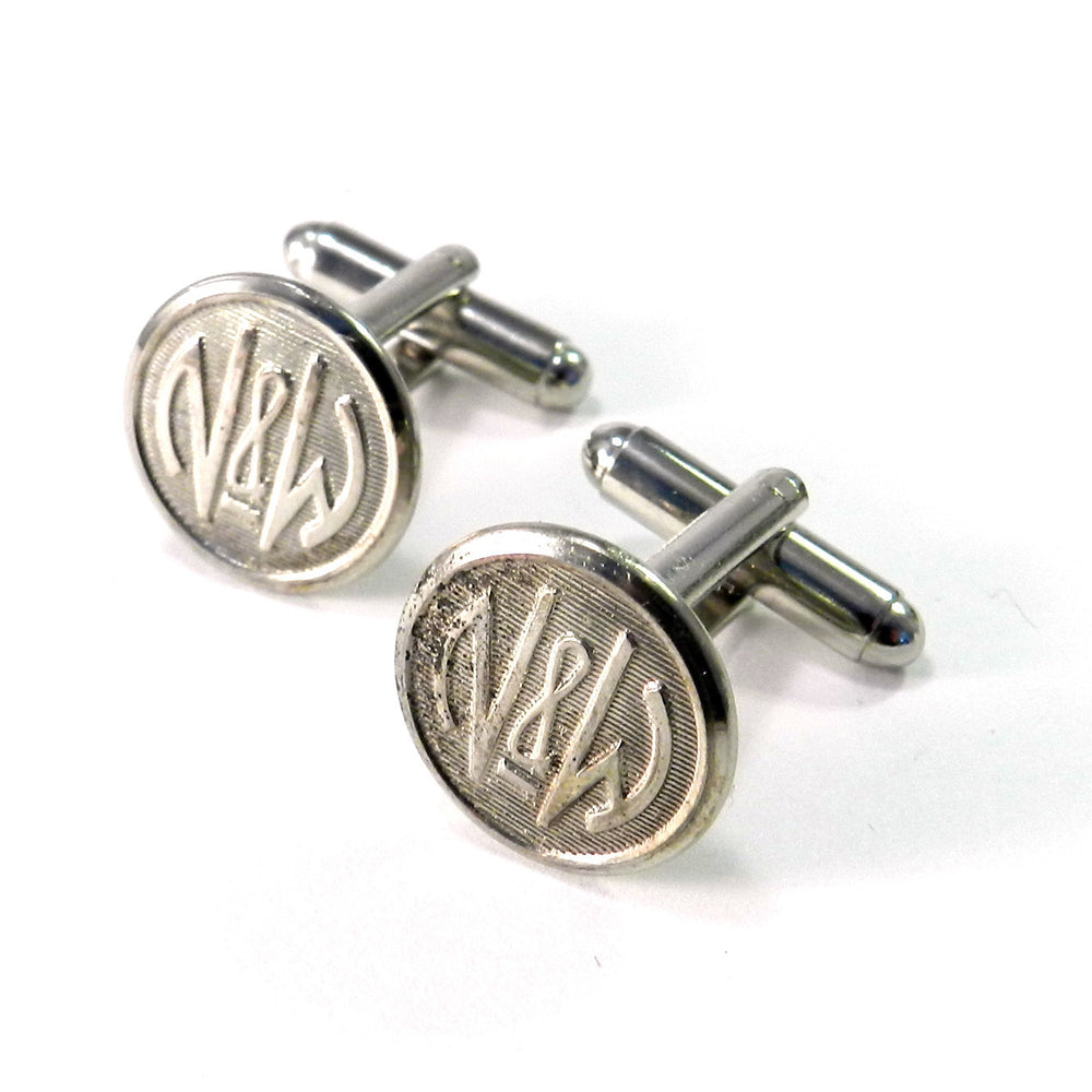Norfolk & Western Vintage Button Cuff Links - Classic Silver