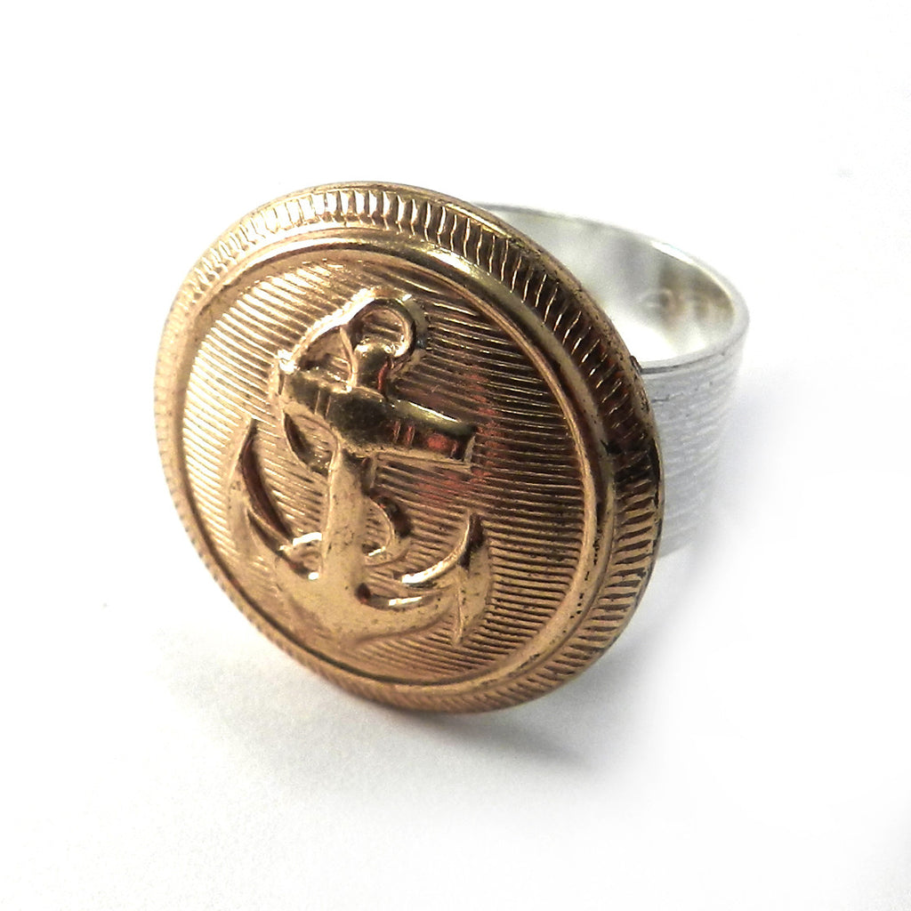 Vintage Button Ring - Gold Anchor