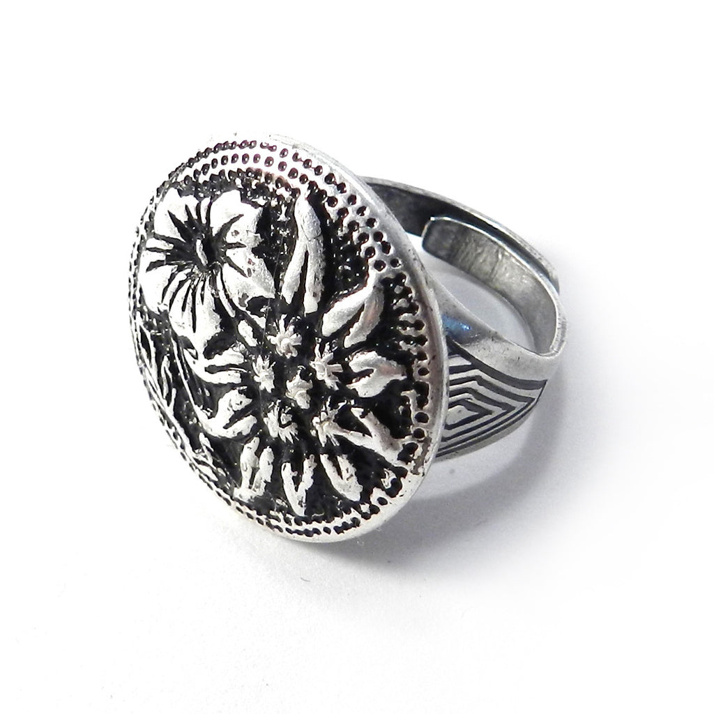 Vintage Button Ring - Silver Summer Flowers