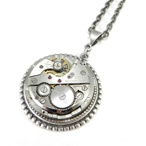 Steampunk Necklace - Mechanical Watch Pendant - Silver Art Deco