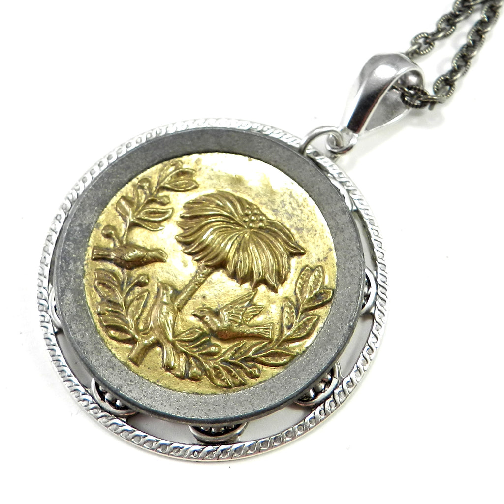Victorian Button Necklace - Large Victorian - Gold & Silver Blossoms