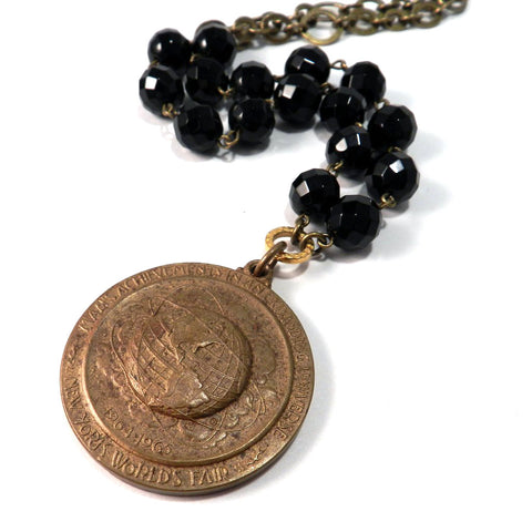 1964 New York World's Fair Medallion - with Ebony Beads