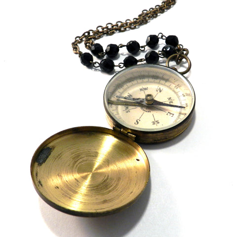 Vintage WORKING COMPASS Necklace, Onyx