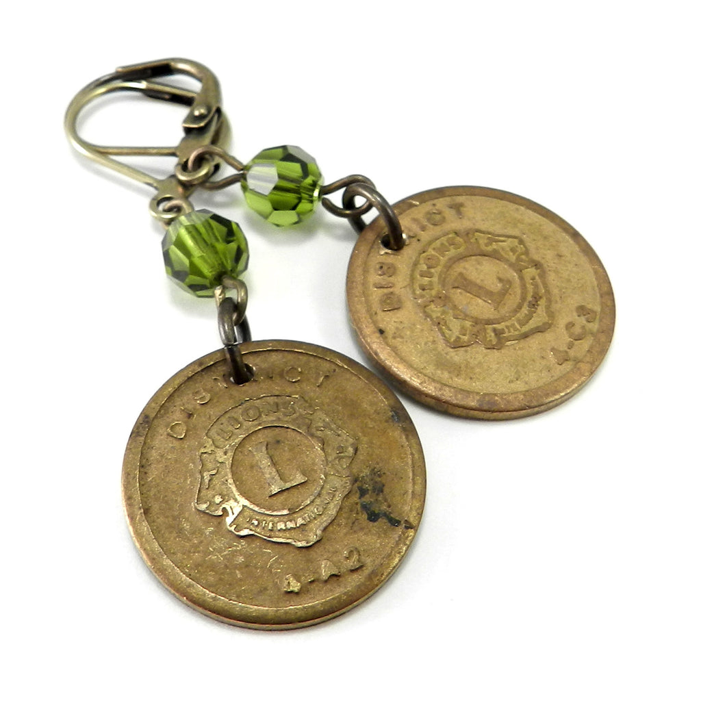 Vintage Medal Earrings - Lions Club - Olive Crystal