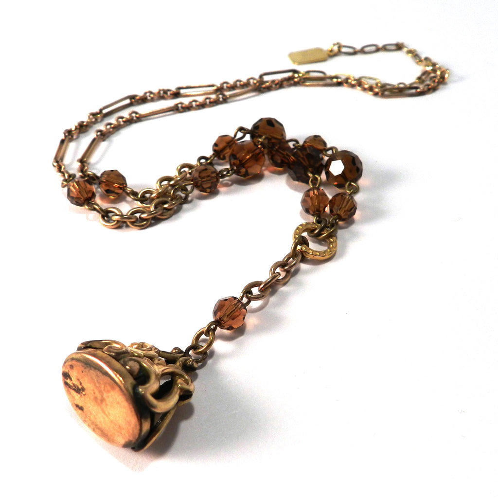 Chocolate Glass Edwardian Signet Fob Necklace - ANTIQUITY Collection
