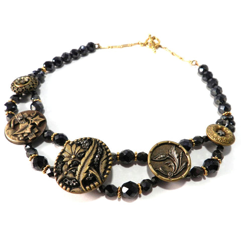 Antique Button Necklace - Ornate Beaded Bronze Hematite Choker