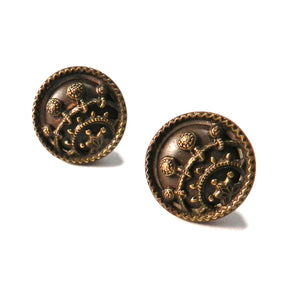 Antique Button Stud Earrings - Gold and Earth