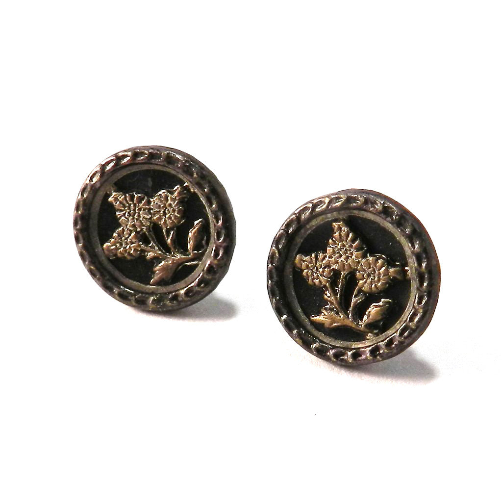 Antique Button Stud Earrings - Steel and Onyx Blossom