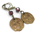 Vintage Medal Earrings - Bowling League - Burgundy Crystal