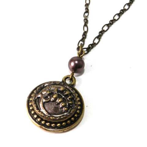 Petite Victorian Button Necklace - Brass - Lavender Pearl