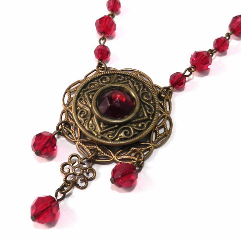 Antique Button Necklace - Ruby Red 1890s