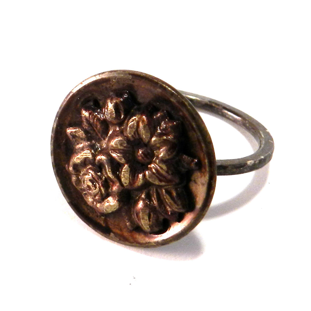 Burgundy Rose - Sterling Silver Antique Button Ring