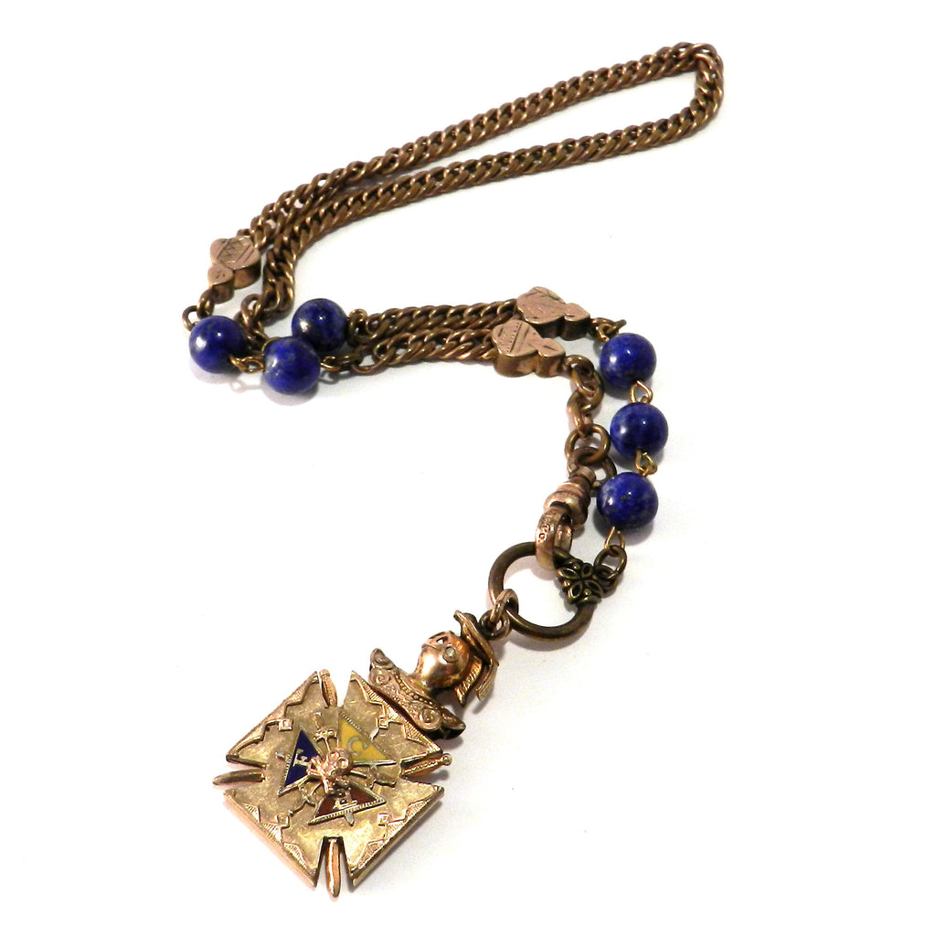 Odd Fellows Maltese Cross Watch Fob Necklace with Lapis Lazuli