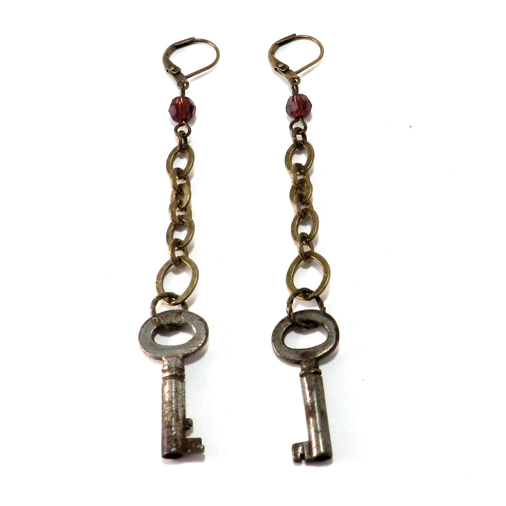 Antique Skeleton Key Earrings - Burgundy Crystal