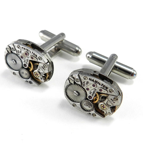 Silver Watch Movement Cufflinks - Hamilton