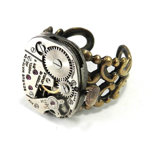 Clockwork Ring - Antique Benrus Watch Movement in Brass