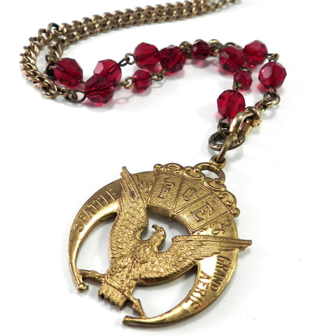 Fraternal Order of Eagles - Vintage Watch Chain - Scarlet Crystal