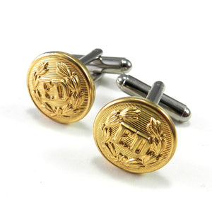 Fire Department Antique Button Cufflinks - Brass