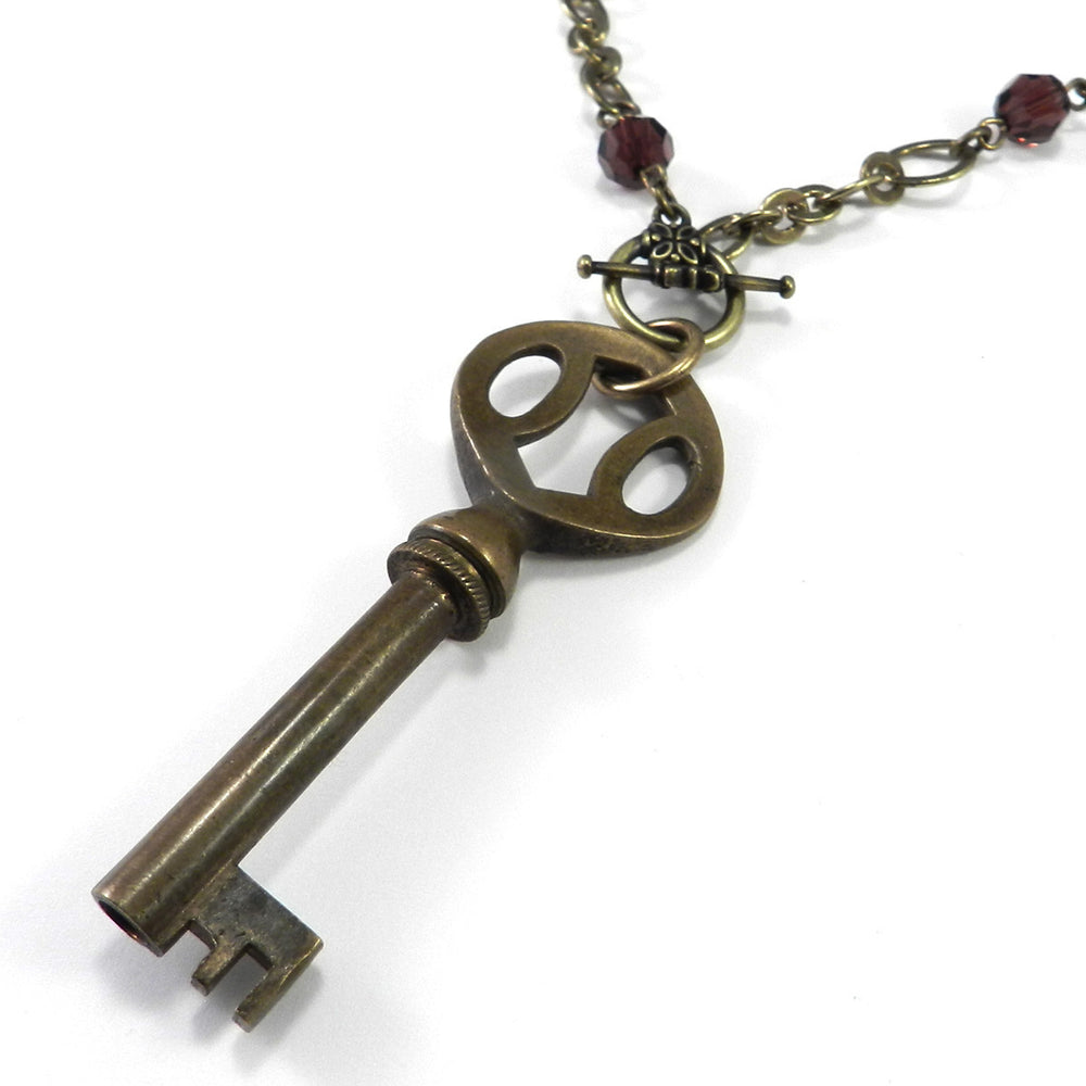 Antique Phonograph Key Necklace - Burgundy Crystal