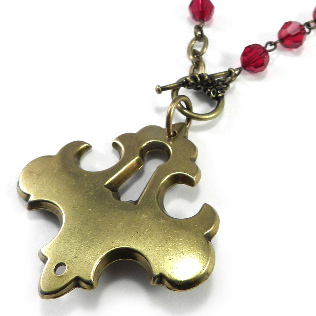 Antique Keyhole Necklace - Front Toggle - Red Scarlet Crystal