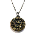 BIRDSONG - Sterling Silver Antique Button Necklace