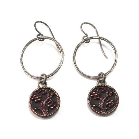 Plum Blossom Antique Button Earrings - Sterling Silver Drop