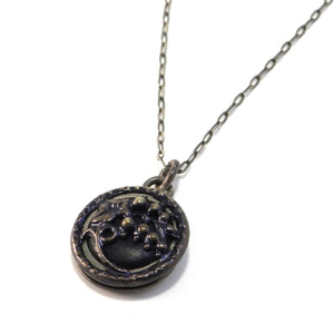 Indigo Flower - Sterling Silver Antique Button Necklace
