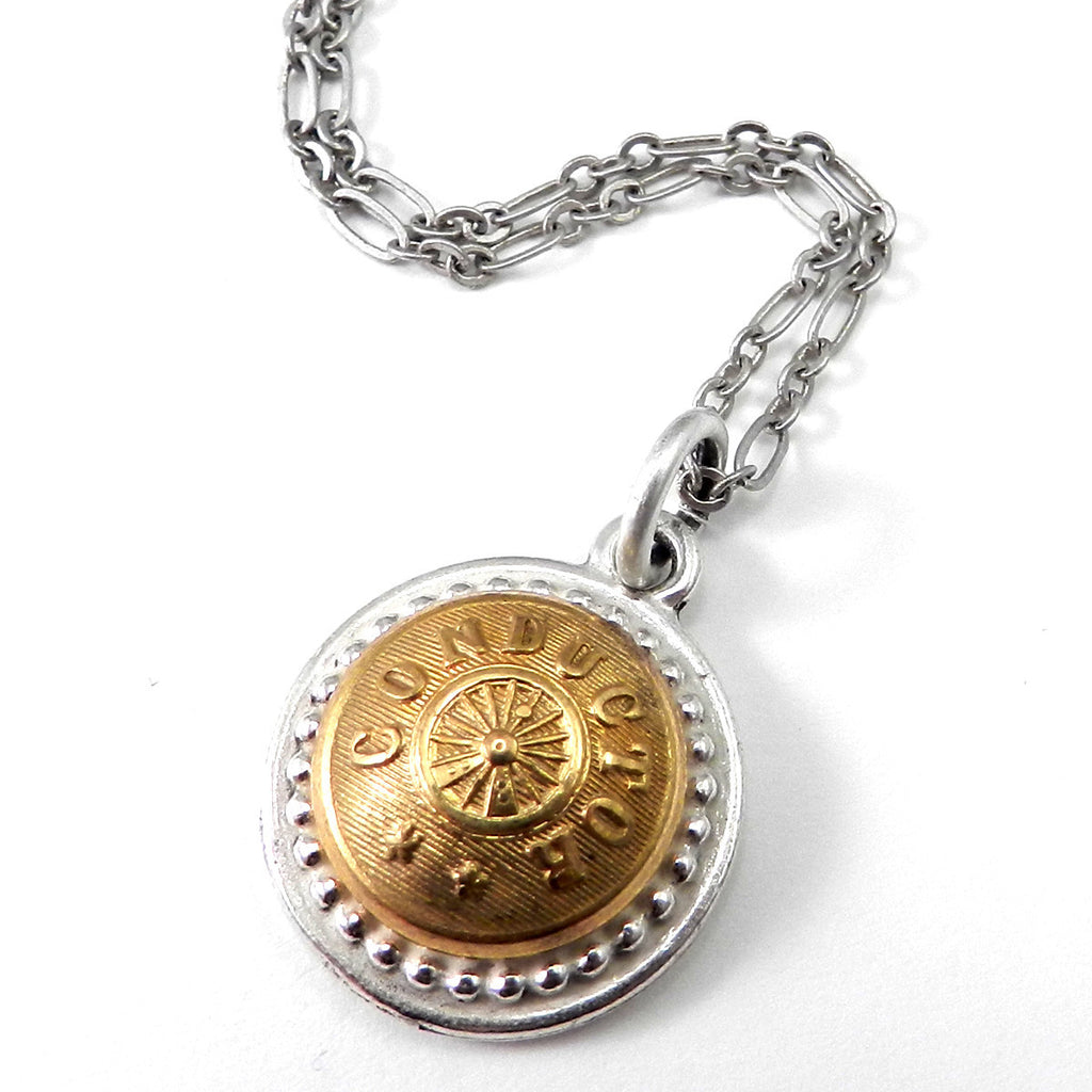 Railroad Necklace - Vintage Conductor Button Necklace - Brass on Silver