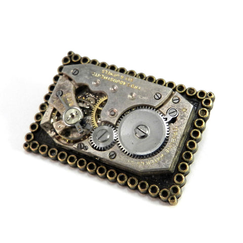 Square Clockwork Brooch - Classical Deco Watch Movement