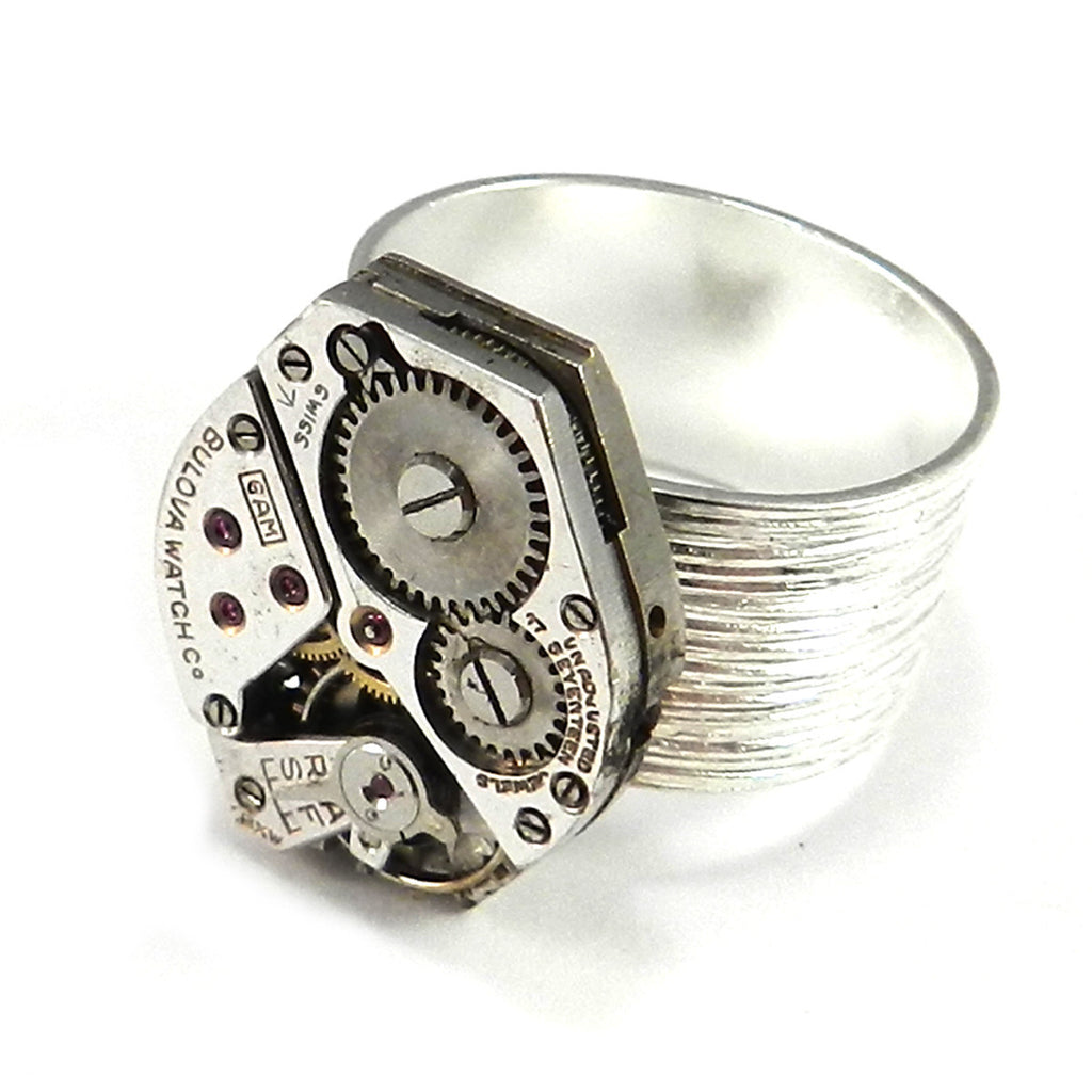 Steampunk Ring - Classic Clockwork on Silver Band