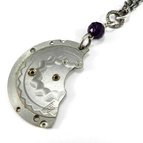 Vintage Keepsake Necklace - Pocket Watch Plate - Amethyst
