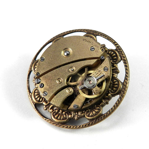 Clockwork Brooch - Brass on Gold