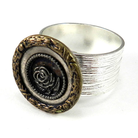 Victorian Button Ring - Wide Band - Silver - Steel Blue Rose