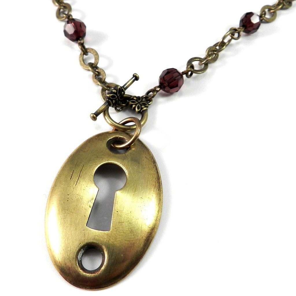Madrid Antique Keyhole Necklace - Burgundy Crystal