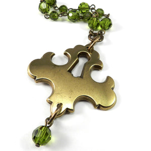 Sofia Antique Keyhole Necklace - Olive Green Crystal